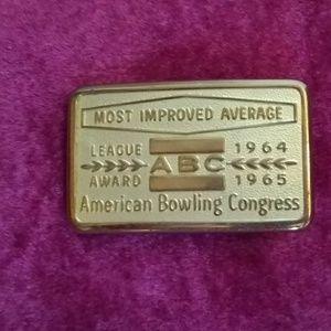 Vintage 1960s Era Bowling Award Belt Buckle